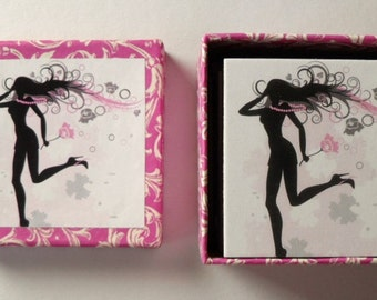 Handmade memory women silhouttes matching game