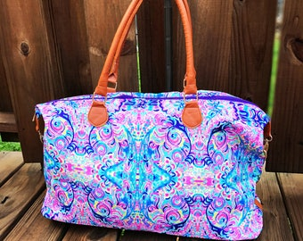 Monogram Lilly Inspired Weekender Bag, Personalized Duffle Bag, Luggage Monogrammed Preppy, Bridesmaids Gift, Wedding Gift, Vacation Bag