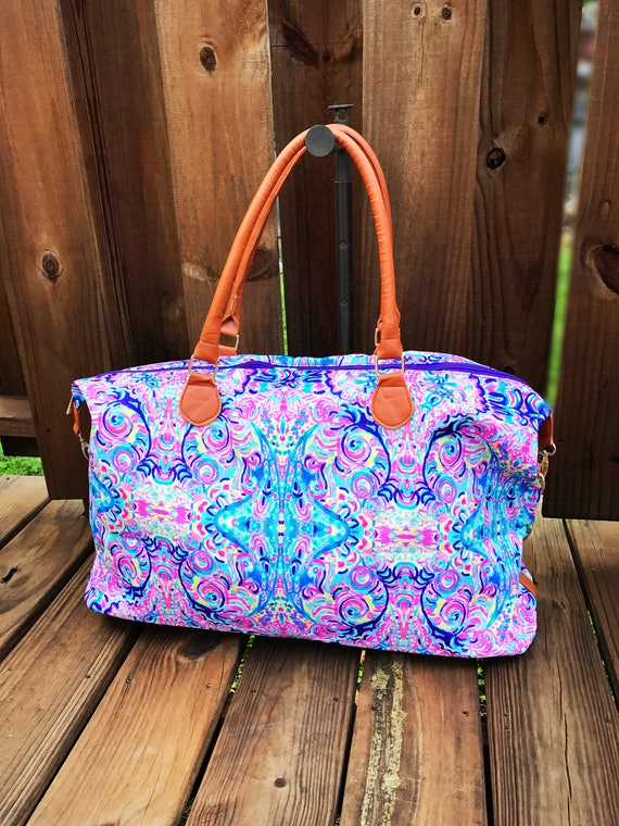 monogram lilly inspired weekender bag personalized duffle