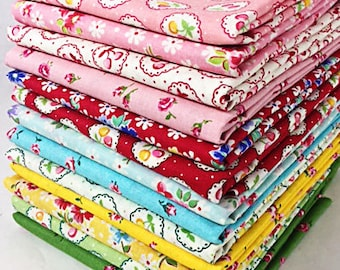 13 piece (1/4 yard) Happy Flower Quilt Bundle of Lecien's Old New 30's Spring 2017 Collection