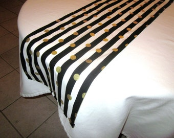 Black, Gold,  and White Stripe Table Runner, New Years Eve Party,  Wedding Table, Bridal Shower, Baby Shower, Graduation,  Pirate Party