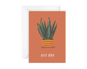 Aloe Vera greetings card - botanical plant stationery