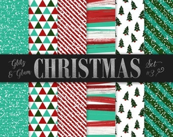 Christmas Paper Pack / Digital Christmas Paper / Modern Christmas Digital Paper / Geometric Christmas / Christmas Tree Paper / Red and Green