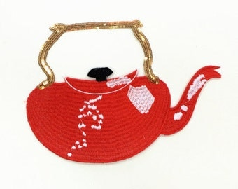 Teapot sequins patch applique embroidered patch sew on patch