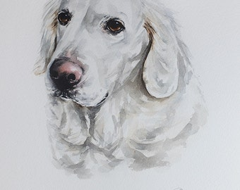 custom pet portrait, original watercolor painting, Golden Retriever, handmade gift/present
