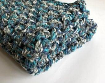 Baby Blanket Crochet, blue white gray bkanket, baby boy blanket, Crochet baby Blanket, Chunky baby Blanket, Stroller Blanket, Shower Gift