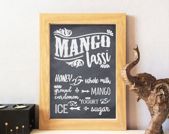 Indian Food Kitchen Print - Mango Lassi, Home Decor, Dining Room, Wall Art, Chalk Effect, Restaurant, Cafe,  Ethnic Inspired, Gift, UNFRAMED