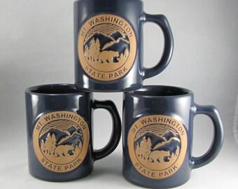 Mt. Washington State Park New Hampshire, Blue Coffee Mugs, Mountain Landscape Scene, Perfect Gift For Him, Vintage Set/3
