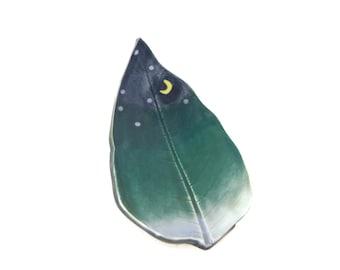 Milkweed Leaf dish - pottery - night sky leaf - starry night - ring dish - spoon rest - fall leaf - decor - space decor - stargazer dish