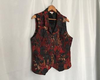 Floral Vest Vintage Red Black Gold Women's Small or Medium