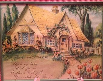 "Vintage ""FOR MOTHER"" Print Cottage Garden Style"