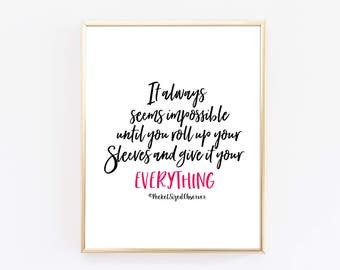 It Always Seems Impossible Art Print - Inspirational Quote - Typography Print - Minimalist Poster - Quote Print - Dorm Decor