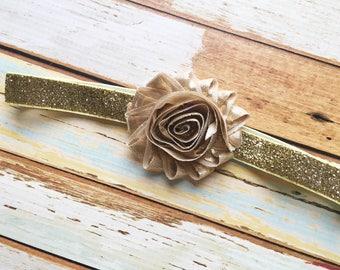 Gold Headband for Flower Girl - Headband for Girls - Gold Glitter Headband - Sparkly Headband Photo Prop - Gold Flower Headband for Baby -
