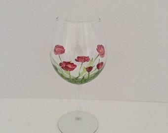 Poppy, Hand Painted Wine Glass, Red Wine Glass