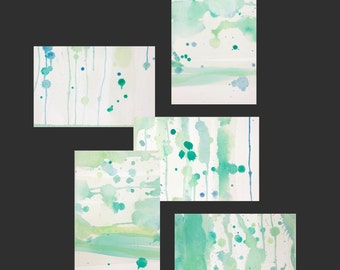 Watercolor thank you cards, green and gray