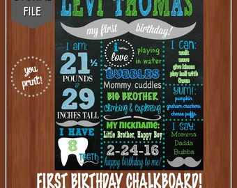 Blue and Green Mustache Bash First Birthday Chalkboard - Blue Green Mustache - Boy's First Birthday - Mustache Birthday - Mustache 1st Bday