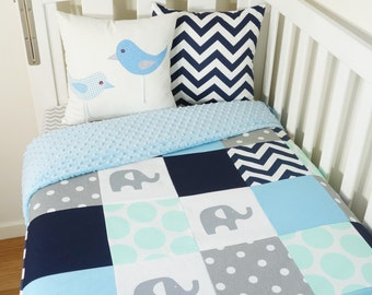 Patchwork quilt nursery set - Mint, baby blue navy and grey elephants, spots and chevron (Soft blue minky quilt backing)