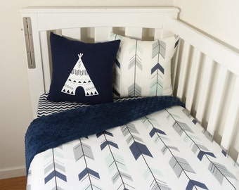 Mint, navy and grey joining arrows and navy minky nursery set items