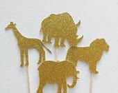 Safari animal cupcake toppers - Safari jungle party - Jungle Animal Cupcake Toppers - Handcrafted in 1-3 Business Days - 12CT #144151