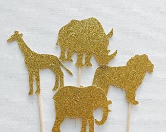 Safari cupcake toppers - Gold - Cupcake topper - Safari jungle party #44151