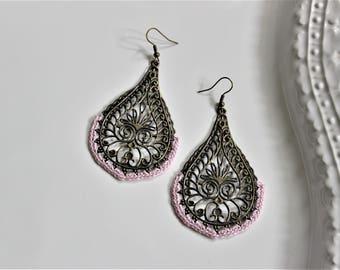 Light Pink Antique Bronze Medallion Earrings