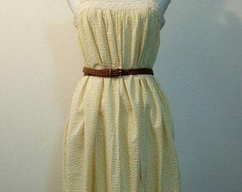 1970s Dress Summer Sun Dress cotton frill lace sleevless bohemian