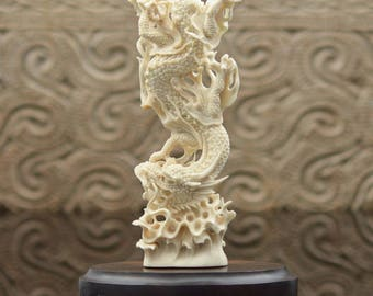 Stunning DRAGON MOOSE ANTLER Sculpture Art Carving Bali Hand-Carved 6.71 inches