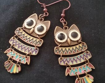 Bronze Tone and Rainbow Enamel Owl Earrings, Bronze and Rainbow Color Owls, Owl Earrings, Owl Jewelry, Bronze Tone Owl Jewelry