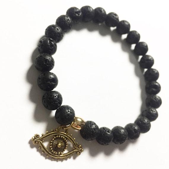 Black Lava Stone Beaded Charm Bracelet, Choose Your Charm, Custom, Gold Plated, Mala, Yoga, Meditation, Unisex, Men, Women