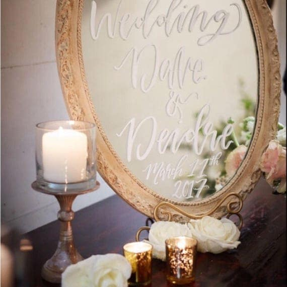 Wedding welcome mirror, custom wedding day sign, wedding sign on mirror, seating chart, classy hand lettered wedding day decor, glam wedding
