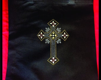 Black tote bag with studded cross