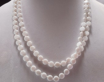 Vintage White Milk Glass Beaded Necklace, White Disk Bead Flapper Necklace 48 Inch