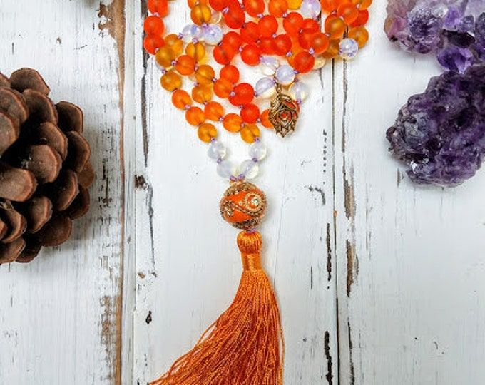 Flaming June 108 bead japa tassel mala in tangerine dream colors moonstone cultured seaglass necklace