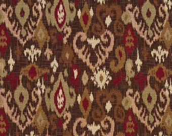 Red, Light Green and Brown Woven Elegant Ikat Upholstery Fabric By The Yard | Pattern # E705