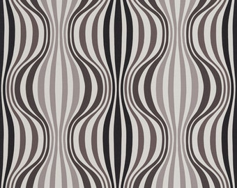 Black and Taupe Wavy Abstract Striped Print Upholstery Fabric By The Yard | Pattern # B0430A