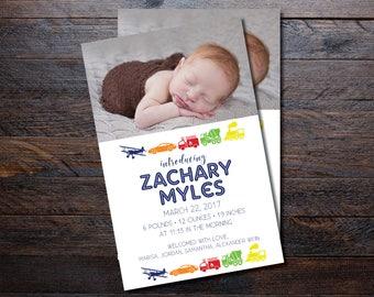 Transportation Baby Boy Birth Announcements/ Boy Announcement/ trucks