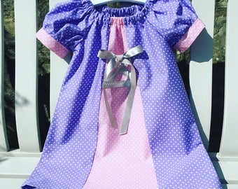 RAPUNZEL Disney peasant dress in lilac and pink cotton fabric with puffed cuff sleeves age 12 mths to 5/6