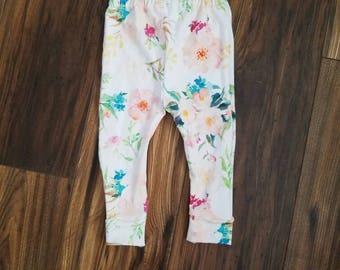 Floral baby leggings, floral toddler leggings, watercolor floral fabric, baby leggings, tropical floral leggings, toddler leggings