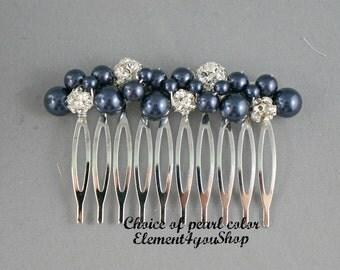 Bridesmaid comb, Bridal comb, Pearl comb, Rhinestone comb, Silver wedding hair comb, Wedding hair accessories, Bridesmaid gift, Night blue