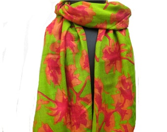 Green scarf/ multicolored scarf/ cotton  scarf/ floral scarf / fashion scarf/ gift scarf/  gift ideas.