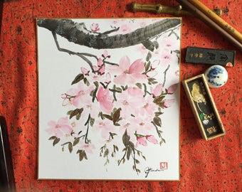 Asian Art, Sakura, Japanese Art, ink painting, chinese ink painting