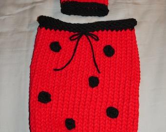 Ladybug baby cocoon with matching hat