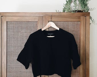 Vintage Banana Republic Cropped Black Loose Knit Sweater Size XS