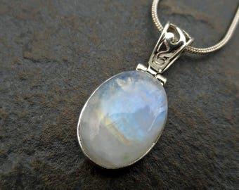 June Birthstone Gift, Rainbow Moonstone Silver Pendant, Moonstone Necklace, Rainbow Moonstone Jewelry, Gift for Her