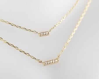 Tiny diamond bar necklace 14k gold, 3 diamonds necklace, 14k gold dainty bar necklace, 14k Solid gold, rose gold, white gold, bar-n101-3
