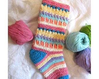 Scrappy Crochet Christmas Stocking Pattern  #Chr0018