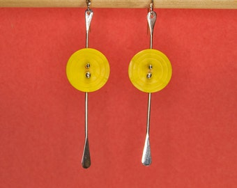 sterling  silver dangle earrings with 1950's yellow plastic buttons and sterling dangles