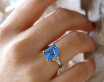 Antique Silver Blue Crystal Ring - Blue Ring - Size 6.5 Ring For Women - Vintage Silver Ring