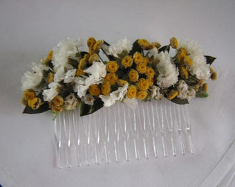 Dried Flower Hair Comb, Bridal Hair Accessory, Head Comb, Yellow and White Hair Comb, Bridesmaid Hair Comb, Summer Dried Flowers