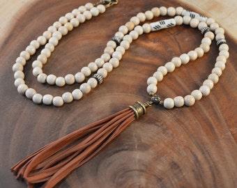 Tassel Necklace, Bohemian Jewelry, Leather Tassel Necklace , Long Beaded Necklace, Wood Bead Necklace, Carved Bone, Boho Tassel Necklace